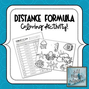 Distance Formula Coloring Activity Distance Formula Geometry Lessons Math Lesson Plans The distance formula worksheet answers