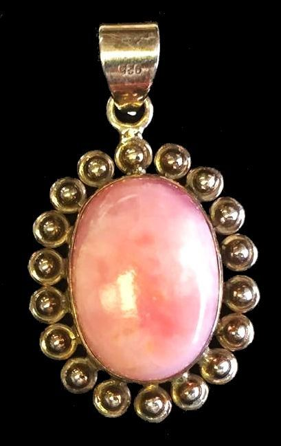 Beautiful Vintage Silver Black and Pink Marble Pendant Necklace 60s Costume Jewelry