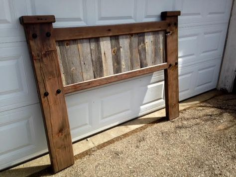 Rustic Wood Headboard Bed Frame Local Vacaville Shabby Chic Weathered Deposit Made To Order On Etsy