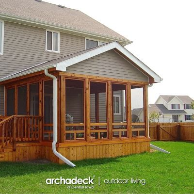 Stamped Concrete Floor In This Screened Porch Johnston Des Moines Design Ideas Archadeck In 2020 Screened In Porch Screened Porch Concrete Floors