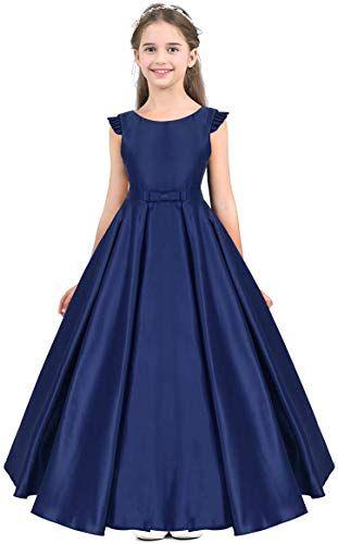 ScelleBridal Applique Flower Girl Dresses Bow on Back Pageant Dress133