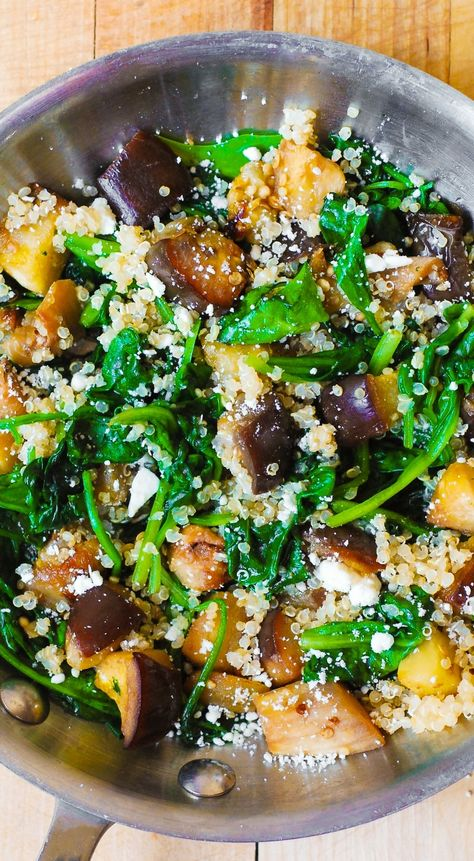 (Mediterranean) Roasted Eggplant with Spinach, Quinoa, and Feta. Healthy comfort food - vegetarian, gluten-free, low calorie, low carb and low cholesterol, high in fiber and protein (from quinoa)