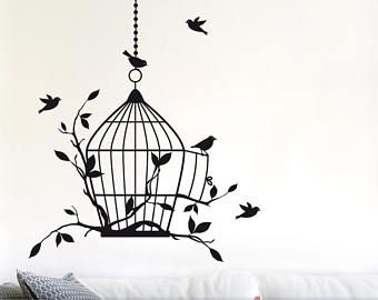 Wall Decal Custom Vinyl Art Stickers Birdcage And Vines