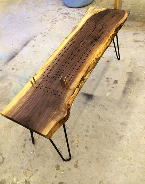 Cribbage board table made from live edge walnut with steel legs. $275 + $130SH
