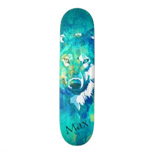 Modern Teal Blue Green Watercolor Wolf Skateboard Watercolor Wolf Green Watercolor Skateboard Deck Art