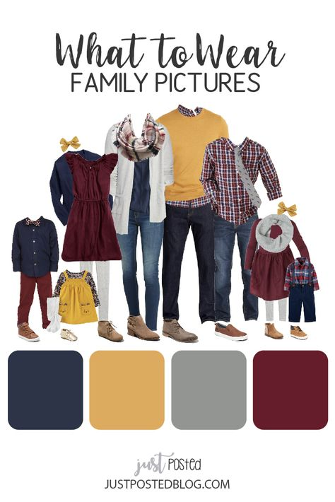 What to Wear for Family Pictures - Burgundy, Yellow, Navy and Gray - What to Wear for Family Photos – Burgundy, Navy, Mustard Yellow and Gray – This post has 5 diff - Fall Family Picture Outfits, Winter Family Pictures, Family Pictures What To Wear, Family Picture Colors, Family Portrait Outfits, Fall Family Portraits, Family Picture Poses, Family Photo Sessions, Outfits For Family Pictures