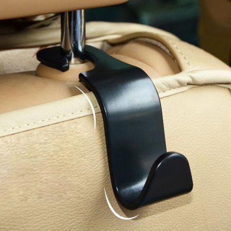 WINOMO 2Pcs Car Headrest Hook Universal Car Back Seat Headrest Hanger Holder Hook for Bag Purse Cloth Grocery Black and Grey