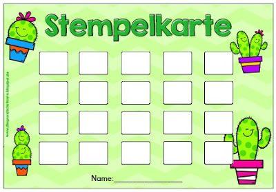 Grundschultante Stempelkarten Teil 1 Belohnungssystem Belohnungssystem Kinder Stempelkarte
