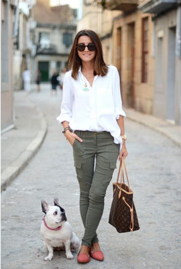 coral shoes, army green pants, white button up, cute travel outfit