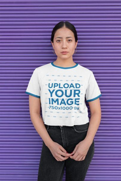 Download Placeit Ringer T Shirt Mockup Of A Woman Leaning Against A Wall With Graffiti Clothing Mockup Women Wear Clothing Logo