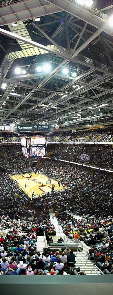 Vertical panoramic of the Quicken Loans Arena aka the 'Q' home to the Cleveland Cavaliers, they will put ice over the basketball court for hockey games :)