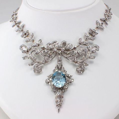 Aquamarine And Diamond Necklace – 2019 - Jewelry Diy. #necklaces #jewelry #earrings #accessories #fashion #bracelets #necklace #rings #handmade #handmadejewelry