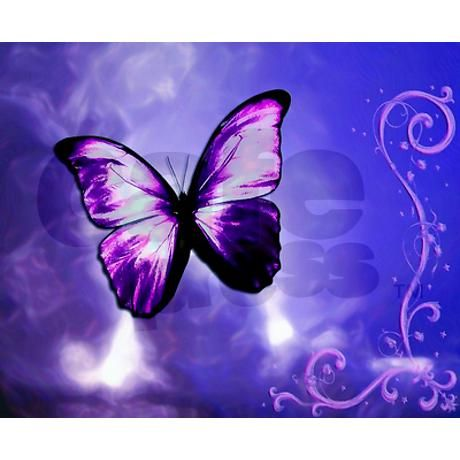 Purple Butterfly Note Cards (Pk of 20) on CafePress.com