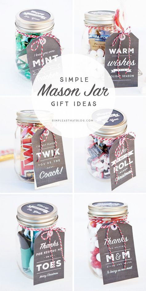 6 Simple Mason Jar gifts with Printable Tags to make gift giving easy and inexpensive for even the hardest to shop for on your Christmas list!