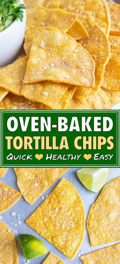 Crispy and crunchy Homemade Baked Tortilla Chips are made from corn tortillas, a bit of oil, and a squeeze of lime juice. This easy, gluten-free, and vegan chip recipe is made healthy by baking them in the oven instead of deep frying! Homemade Tortilla Chips Baked, Corn Tortilla Chips Recipe, Healthy Tortilla Chips, Baked Corn Tortillas, Flour Tortilla Chips, Vegan Chips, Healthy Corn, Homemade Nachos, Homemade Corn Tortillas