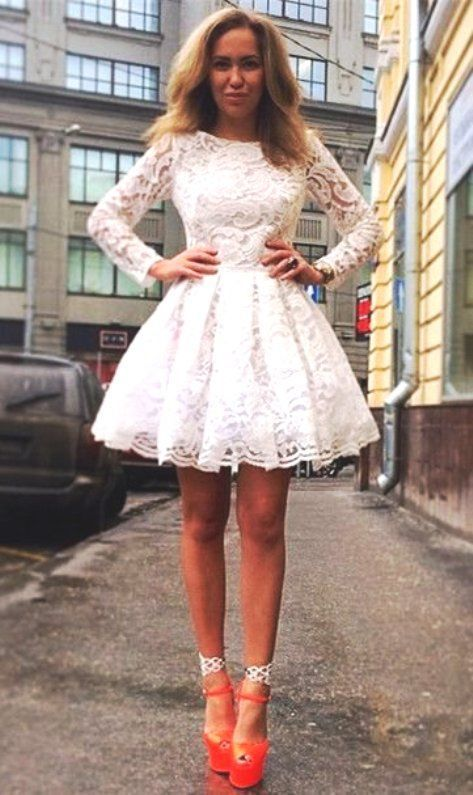 3975519ec214b Ivory Lace Round Neck A-Line Short Homecoming Dress 0993 by RosyProm,  $123.99 USD