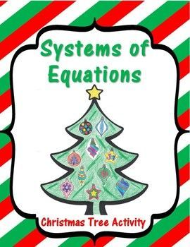 Systems Of Equations Christmas Tree Activity Freebie