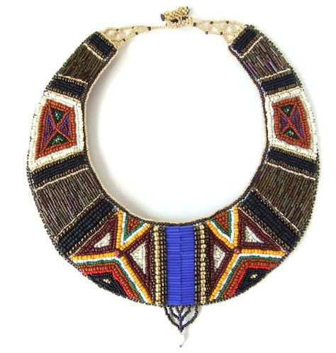 Bijoux – Tendance : Love the patterns in this Samburu African bead embroidered necklace by Kankou,