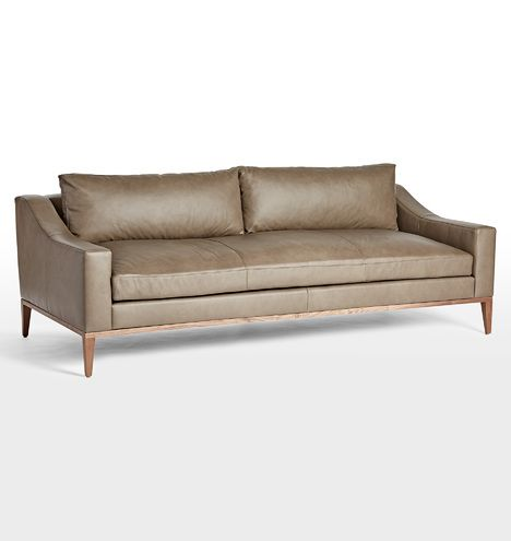 Laurelwood Leather Sofa Leather Luxe Greige D1444 Sofa Single