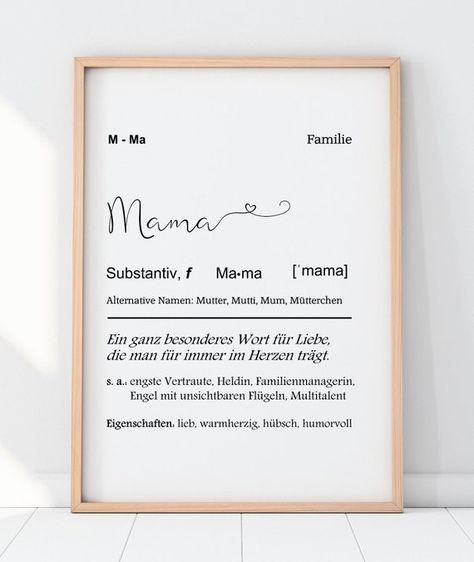 Kunstdruck MAMA Definition mit Herz | Etsy