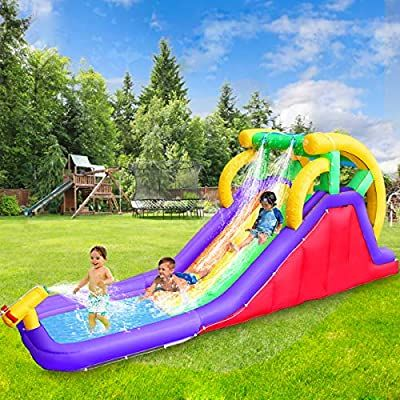 Amazon Com Retro Jump Inflatable Water Slide Double Slide Pool Water Park Bounce House W Climbing Wall Spla Inflatable Water Slide Splash Pool Water Slides