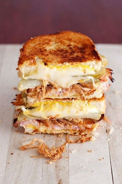 Pulled Pork Grilled Cheese...so yum http://eatandlove.tumblr.com/post/48761071272/gastrogirl-the-cuban-grilled-cheese