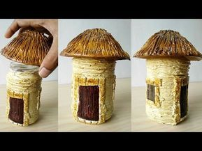 How To Make Wonderful Fairy House Very Easy Material Wasted Glass Jar Acrylic Wall Putty Asian Paints Tractor Em Fairy House Fairy House Diy Clay Fairy House