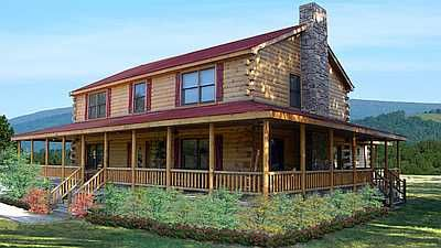 Having A Gorgeous Porch To Unwind On Turns Every Day Into A Holiday The Prairie Model Details Cabin House Plans Log Cabin House Plans Log Cabin Floor Plans
