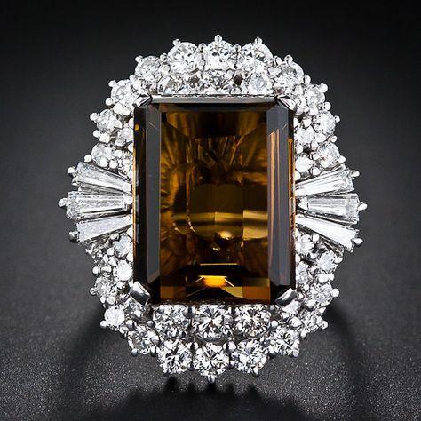 Smoky Quartz and Diamond Cocktail Ring