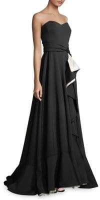 d65a7e46b95 Badgley Mischka Strapless Scuba Ruffle Wrap Gown   Women's Dresses ...