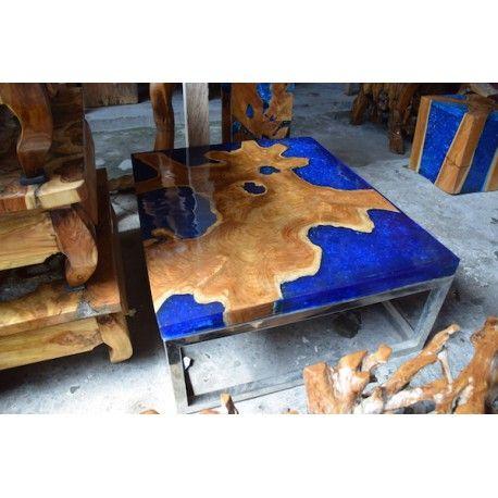 Table Basse Design Teck Et Résine Bluewood Table Design En Souche