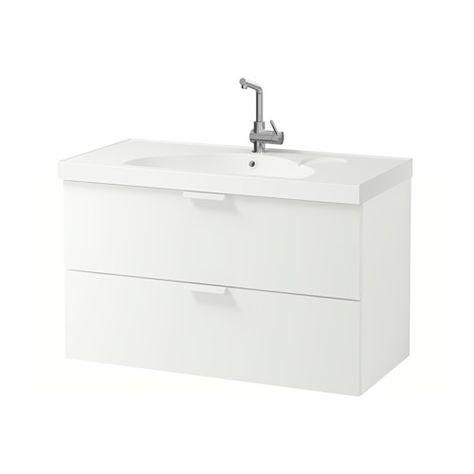 Burg Eqio Waschtischunterschrank mit 2 Auszügen und Keramik - badezimmermöbel weiß hochglanz