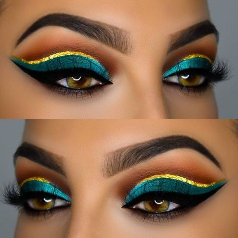 25 Special And Professional Eye Make up For Beginners that they can easily do with few special tips.Moreover, here you will see how can you make a colorful Professional Eye Make up, Cleopatra Makeup, Egyptian Makeup, Makeup Goals, Makeup Inspo, Makeup Inspiration, Beauty Makeup, Makeup Ideas, Beauty Tips, Eye Makeup Designs