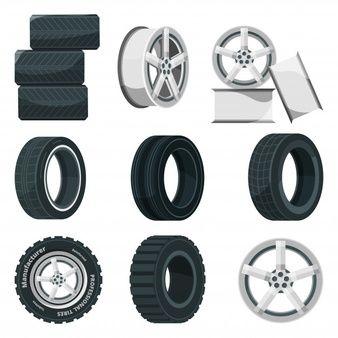 Llanta De Aluminio De Rueda De Coche Vector Premium Set De Iconos Llantas De Aluminio Conjunto De Iconos