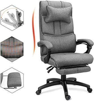 Ergonomic Reclining Office Chair High Back Linen Office Chair With Headrest And Footrest Big Amp Tall Exe In 2020 Reclining Office Chair Office Chair Executive Desk