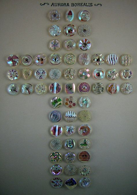 Beautiful Collection, 57 Vintage West German Clear Glass Aurora Borealis BUTTONS: All Different, Rhinestone OME Embellished, Shapes, Luster