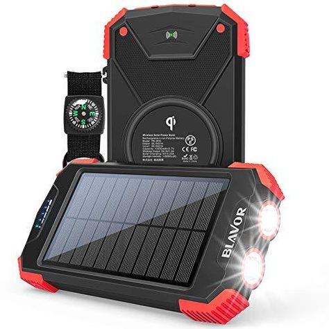 Solar Charger Power Bank, Qi Wireless Charger 10,000mAh External Battery Pack Type C Input Port Dual Flashlight, Compass, Solar Panel Charging - Red