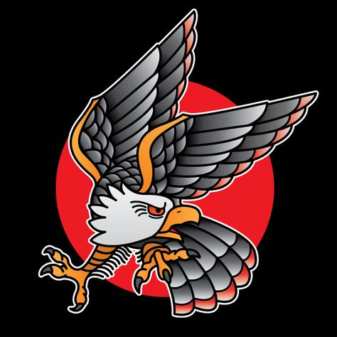 Design eagle tattoo old school Premium V...   Premium Vector #Freepik #vector #banner #vintage #school #design