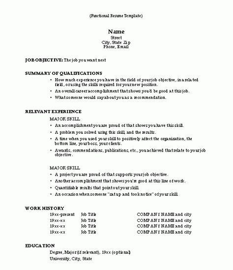 Functional Resume Functional Resume Template Functional Resume