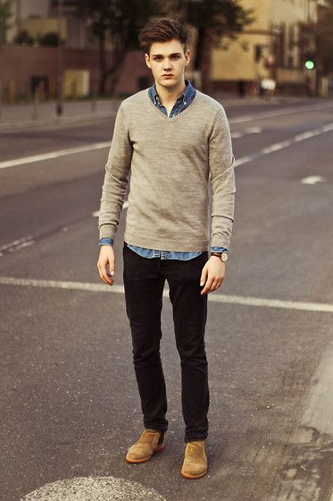Leon David - Polo Ralph Lauren Shirt, H&M Jumper, Daniel Wellington Watch, Cheap Monday Jeans, Frank Wright Shoes - ONE MOMENT