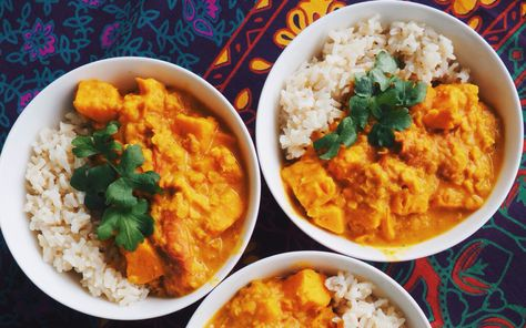 This curry is made with sweet potatoes, tomatoes, rich red lentils, and creamy…