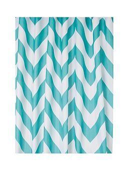 Croydex Chevron Textile Shower Curtain Aqua One Colour Blue Color Schemes Curtains One Color