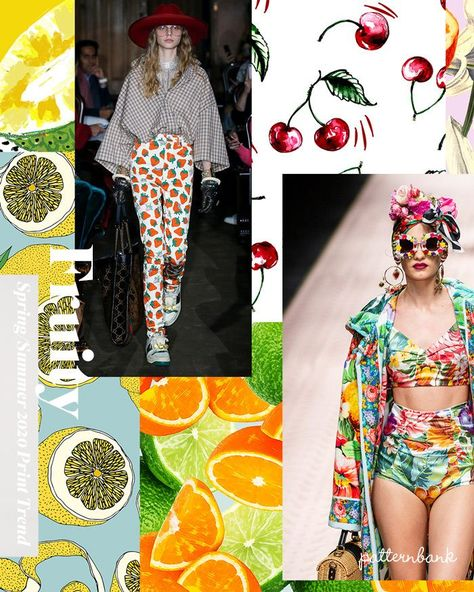 Colourful fruity mixtures and fruit segments create fun tropical prints for Spring/Summer 2020. JUICY FRUITS / CHERRIES, STRAWBERRIES, POMEGRANATES, ORANGES, LEMONS, AVOCADOS, MANGOES, PEACHES & KIWI FRUITS / FRUIT SEGMENTS / SCATTERED REPEATS / SUMMER EXOTICS