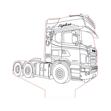 Scania Truck 2 3d Illusion Lamp Plan Vector File For Laser And Cnc 3bee Studio 3d Illusion Lamp 3d Illusions Illusions