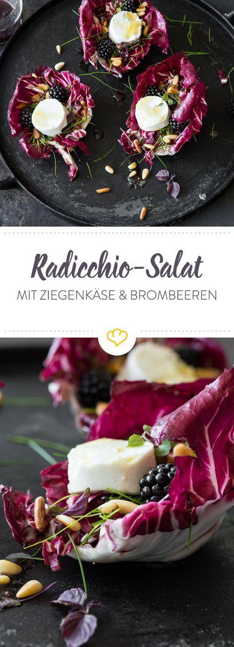 Schneewittchen-Salat: Radicchio, Brombeere und Ziegenkäse