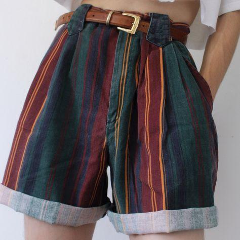 Retro Dark Striped Summer Casual Shorts