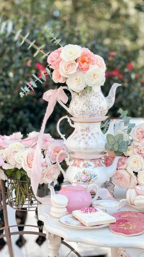 Stacked teapot spring tea party