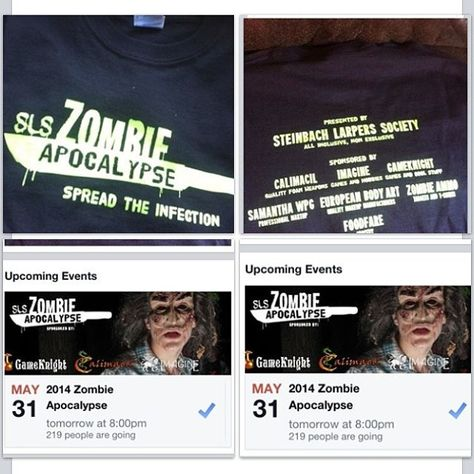 May 31st the #SLSzombieApocalypse official game starts at 8pm come and see the one only @Darrin Lavallee​ play live later in the night. Come and get your #SPFX #zombiemake up done by @Winnipeg Body Painting SamanthaWpg.Com out guest sponsors are @zombieammo ​@European Body Art #blumeno