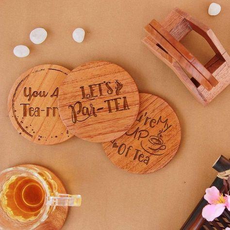 Tea Coasters - Wooden Coaster Set With Holder - Mahogany