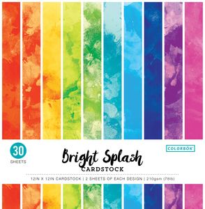 Watercolor Bright Splash 78lb Single Sided Printed Cardstock 12